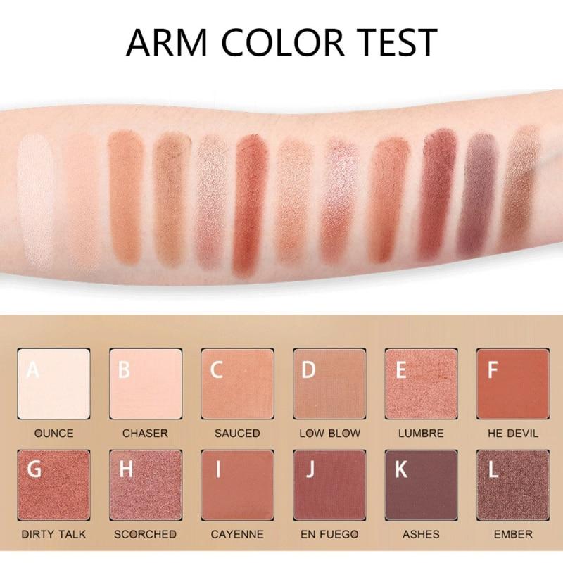 Pigment Eyeshadow 12 Colors Eyeshadow Makeup Palette Waterproof Smudge-proof Easy To Color Shimmer Matte Eyeshadow Palette
