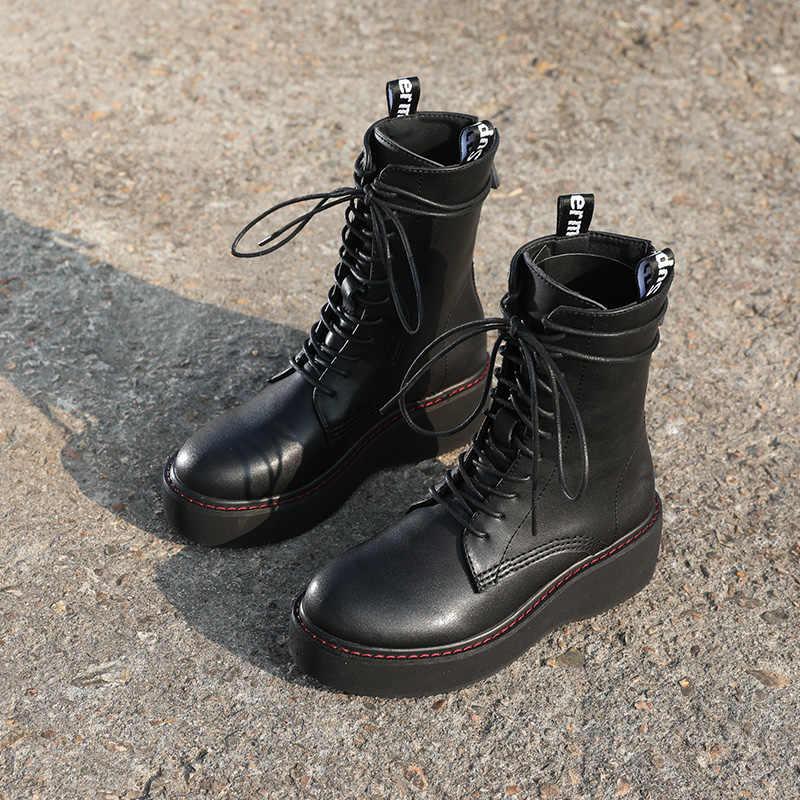 Hakiki deri kadın Martin çizmeler platformu 2019 yeni Lace Up çizmeler kadın ayakkabıları ayak bileği motosiklet botları kadınlar için