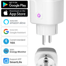Wifi-Socket Smartlife Tuya Eu-16a-Power-Monitor Timing-Function Works App-Control Google-Assistant
