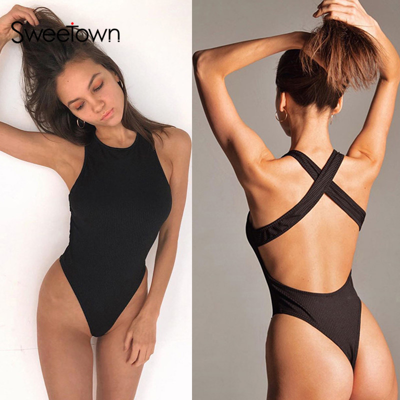 Sweetown 2020 Summer Off Shoulder Sexy Bodysuit Women Backless Cross Rave Sporty Outfits Solid Slim Body Mujer Rompers Beachwear