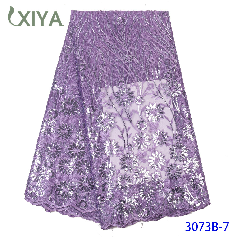 Lilac Color Sequence Fabrics African French Tulle Mesh Lace Fabric Best Quality Sequins Lace Fabric For Wedding Party APW3073B