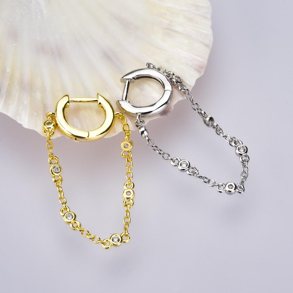 ANDYWEN 925 Sterling Silver 8mm Single Bezel Drop Slim Hoop Chain Earring Zircon Crystal Loops Circle Gold Clips Women Jewelry