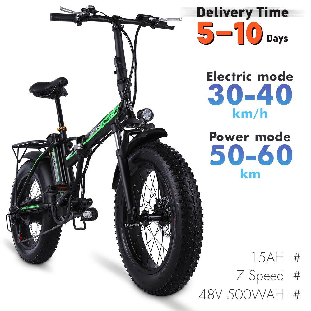 Elektrische Fiets 500W4.0 Fat Tire Elektrische Fiets Beach Cruiser Fiets Booster Bike 48V Lithium Batterij Folding Mens Vrouwen ebike