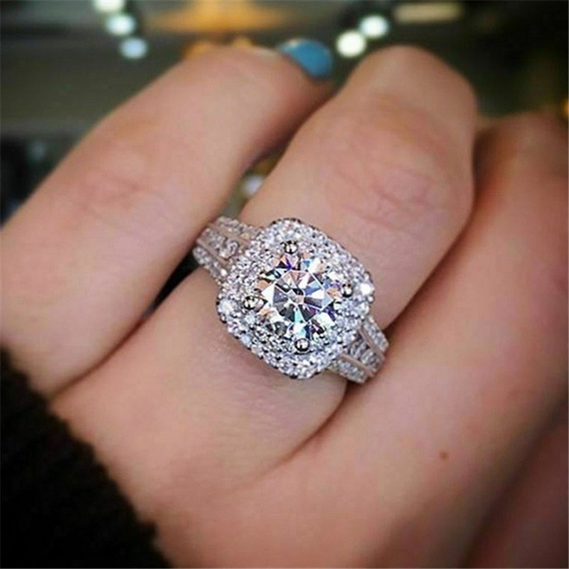 Real Solid Sliver S925 Diamond Ring For Women Square Anillos Bizuteria Wedding Gemstone White Topaz Jewelry S925 Sliver Rings