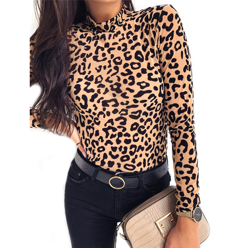 2019 New T-shirt Women Leopard Print Turtle Neck Bottoming Tops Women Autumn Long Sleeve Base Tee Shirt High Neck Top Camiseta