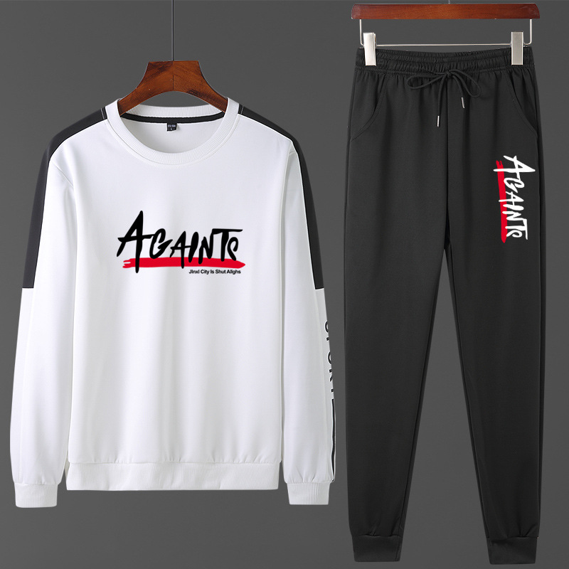 2020 Spring New Style Men Sports Leisure Suit-Style Crew Neck Hoodie Suit Two-Piece Set Tops Men'S Wear Fashion