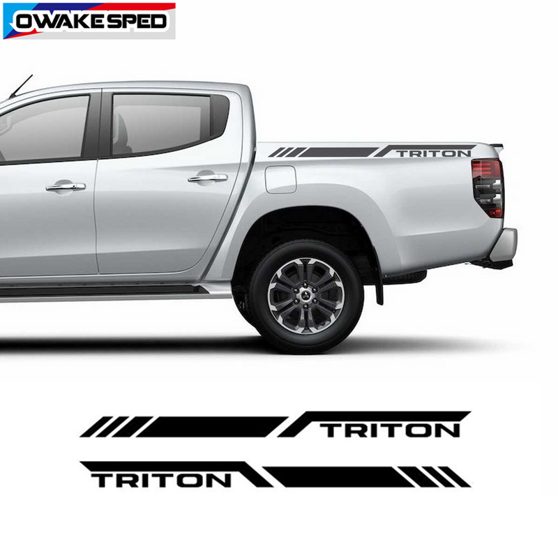 Triton Racing Sport Stripes For Mitsubishi L200 Pick Up Trunk Decor Sticker Car Exterior Accessories image