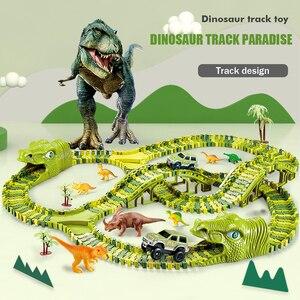 Carro de carril eléctrico de dinosaurio, montaña rusa de costura Diy, coche de rompecabezas ensamblado, variedad de bloques de construcción, juguetes para niños