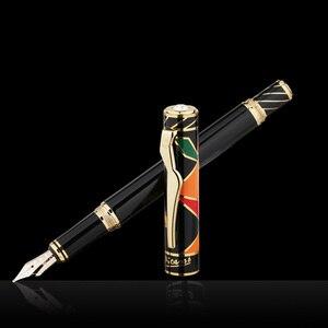 Image 1 - Pimio picasso dolma kalem 10k altın uçlu High end iş ofis hediye kutusu sanat ps 80 vidalı kapak moda rahat dolma kalem s