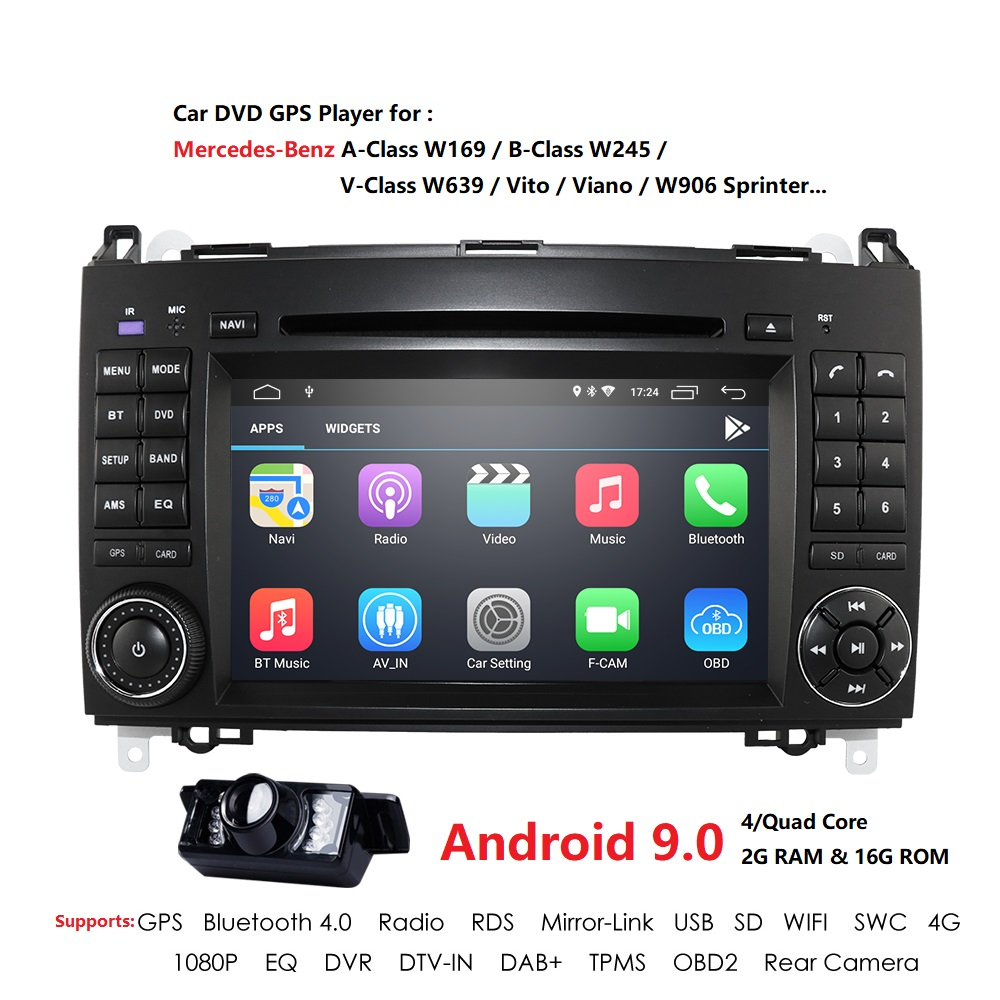 Android 9.0 2din rádio do carro dvd multimídia para mercedes benz b200 a b classe w169 w245 viano vito w639 sprinter w906 wifi gps