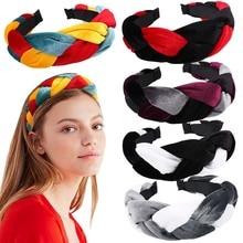 Xugar Braid Knot Velvet Headband for Women Colorful Patchwork Girls Hairband Hair Accessories Fashion Bezel Band
