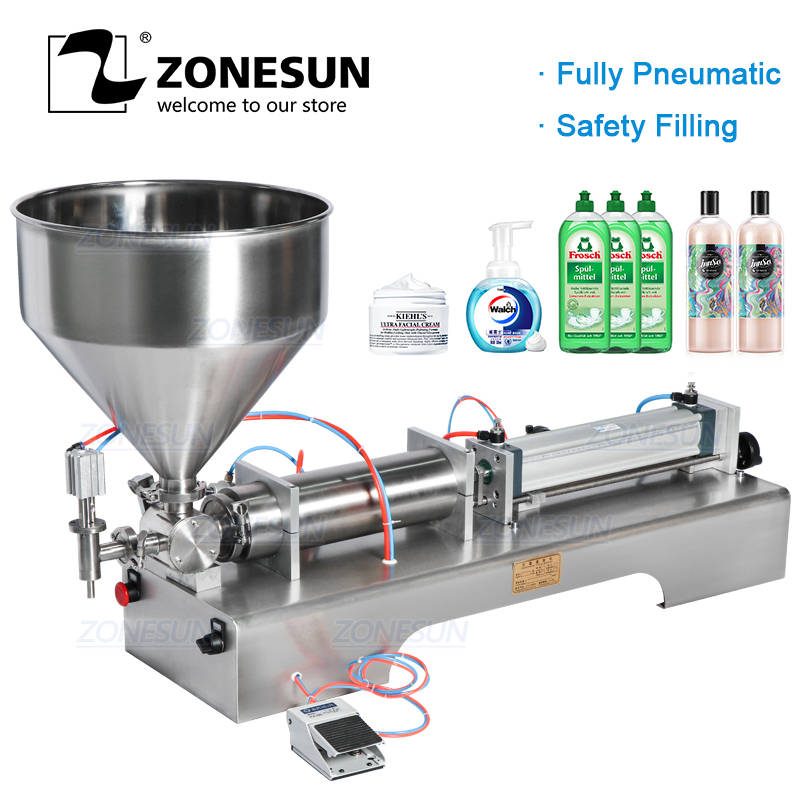 ZONESUN Fully Pneumatic Paste Disinfectant Sprays Shampoo Shower Gel Oil Detergent Bottle Dispenser Filling Machine