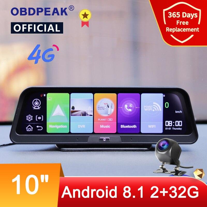 Автомобильный видеорегистратор OBDPEAK с 10-дюймовым IPS-экраном, GPS, 4G, Android 8,1, ADAS, FHD 1080P, двумя объективами, ночным видением, 24 часа в парковке