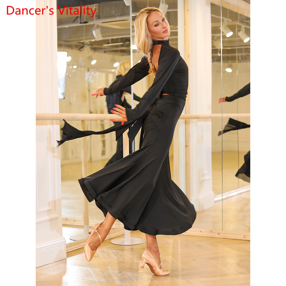Modern Dance Bottoming Clothes Women Long Sleeve Sexy Backless Body Suit Ballroom Waltz Jazz Dancing Performance Training Costum