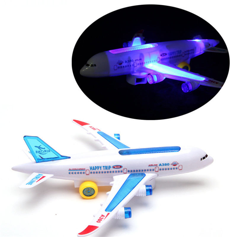 Flash Sound Aircraft Music Toys DIY Assembly Airbus A380 Aircraft Autopilot Electric Airplane Toy for Children Kids Birth Gift image