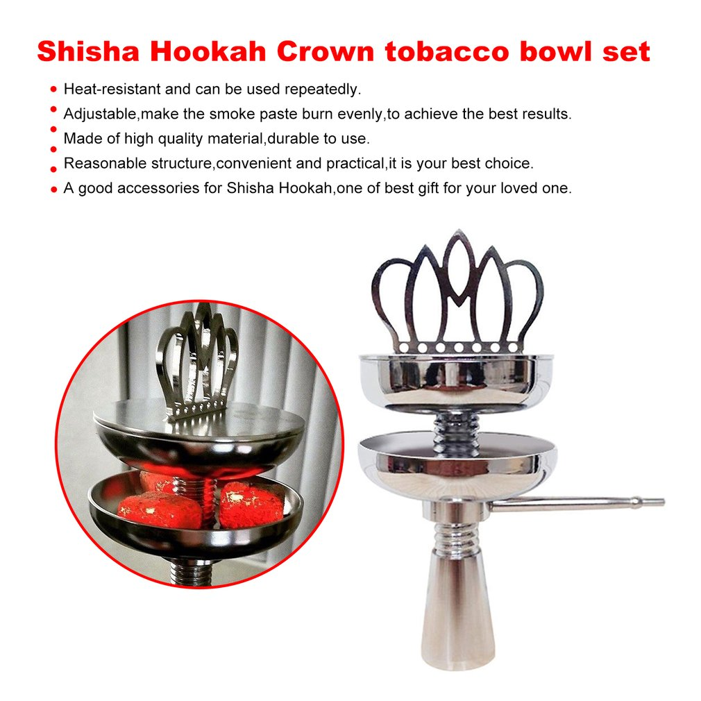 Shisha Hookah Crown Head Bowl set Charcoal Holder Burner Water Smoking Pipe Chicha Narguile For Hookhas Accessories Pakistan