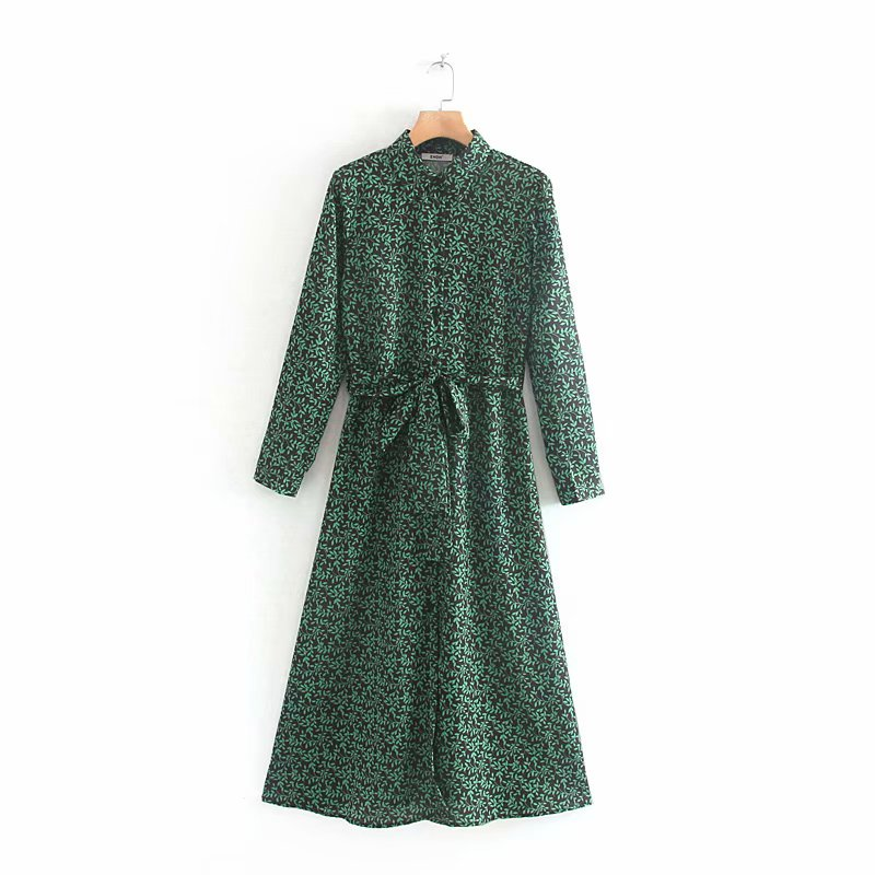2019 New Women Vintage Green Leaves Printing Chic Shirtdress Ladies Bow Tied Sashes Vestidos Casual Slim Midi Dresses DS2832
