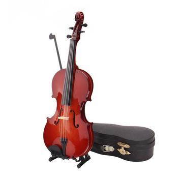 Mini Violin Model Miniature Classical Violin Replica Decoration Display Mini Musical Instrument Ornaments with Stand Case violin accessories violin gills violin jujube gills musical instrument accessories violin learn violin