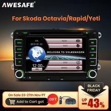 Awesafe 2 din 7インチ車のdvdプレーヤーラジオ/オクタヴィア/のroomster/ファビア/イエティ/シート/アルテア/vw/ポロカーラジオgps autoradio