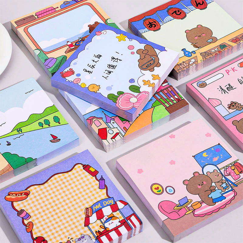 100 sheets Cute Cartoon bear Memo Pad Message Sticky Notes Decorative Notepad Note paper Memo Stationery Office Supplies