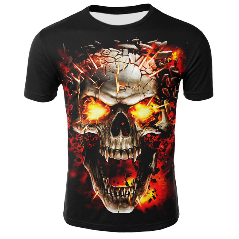 New Skull T Shirt Men Hip-Hop Round Neck Short Sleeve Streetwear Tops Tees Casual 3D Print Fire Skull T-shirt Halloween Clothing