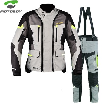 MOTOBOY 600D Oxford Waterproof Windproof Warm Motocross Suit Racing Clothing Protective Gears Armors Motorcycle Jacket and Pants