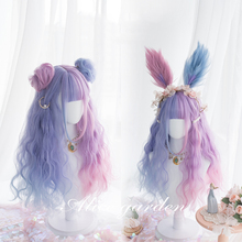 цена на Kawaii Bunny Rabbit 65cm Purple Pink Gradient Harajuku Lolita Wig Hair Daily Long Curly Cosplay Wig + Cap Princess Sweet Wigs