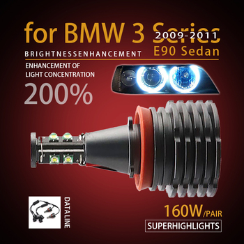 160W 7000K White H8 LED Angel Eyes Ring Marker Bulbs for BMW 2009-2011 3 Series E90 Sedan (LCI) Super Bright image