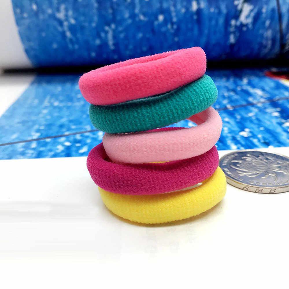 10Pcs ใหม่ลายสไตล์น่ารักเด็กผมวงยืดหยุ่น 6 สีผสมเด็กหัวเชือกผมอุปกรณ์เสริมสำหรับหญิง