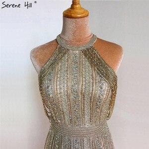 Image 4 - Dubaj złoto bez rękawów Sexy line suknie wieczorowe 2020 diamentowe koralikowe frędzelki formalna sukienka Serene Hill LA70357