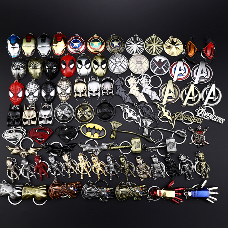 2019 NEW Marvel Avengers Thor's Hammer Mjolnir Keychain Captain America Shield Hulk Batman Mask KeyChain Keyrings Drop Wholesale