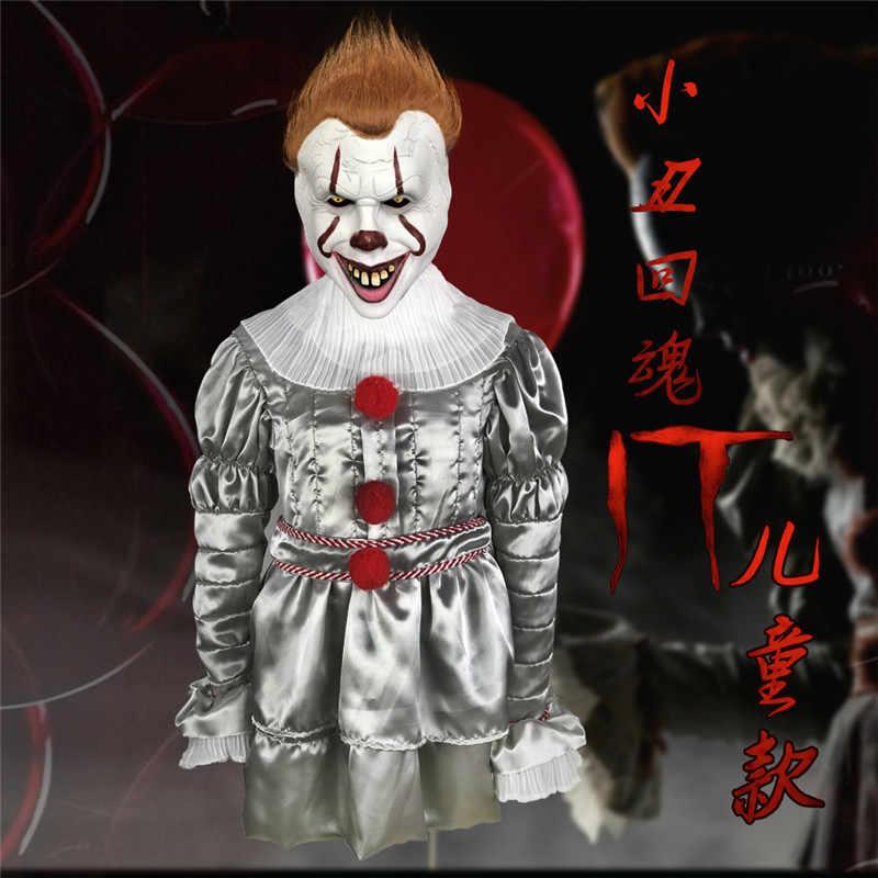2019 Stephen King's E 2 Pennywise Il Clown Cosplay Costume Outfit Bambini Costume Del Pagliaccio Burlone Vestito di Halloween di Fantasia vestito dal Bambino
