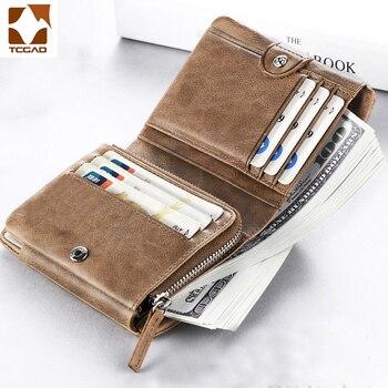 Cartera pequeña de cuero genuino para hombre, billetera pequeña con tres pliegues