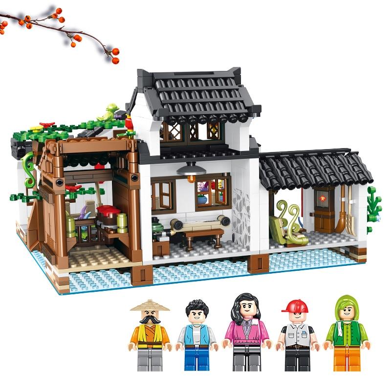Новое впечатление китайский стиль серии Новогодний ужин цзяньнань водный город бистро строительный модуль подарок на год игрушки для детей - Цвет: 610004