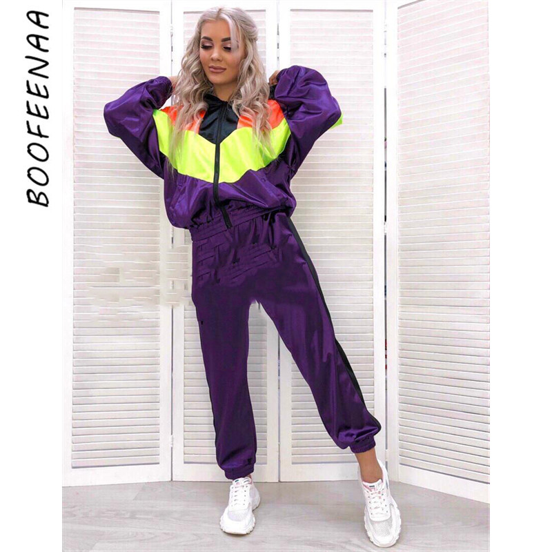 BOOFEENAA Satin Tracksuit Sweat Suits Women Two Piece Set Top And Pants Winter Fall Outfit Jogging Matching Sets C0-AF42
