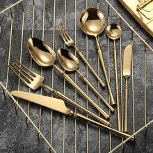 Juego de Cubiertos de acero inoxidable de oro nórdico, diseño portátil de lujo grueso, respetuoso con el medio ambiente, cubierta Dorados para el hogar, Ec50cj