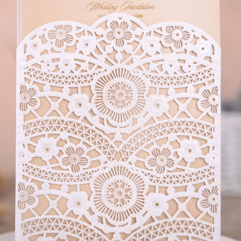 50pcs White Laser Cut Wedding Invitations Card Lace Flora Elegant Invites Cards Customize Marriage Wedding Party Favor Supplies in Cards Invitations from Home Garden
