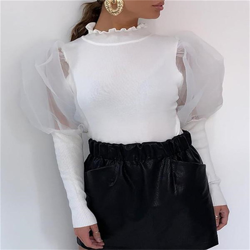 Fluffy Sleeve Blouses Women Fashion Mesh Sheer Tunic Shirts Women Elegant Bule White Office Casual Tops Female Ladies Clothes