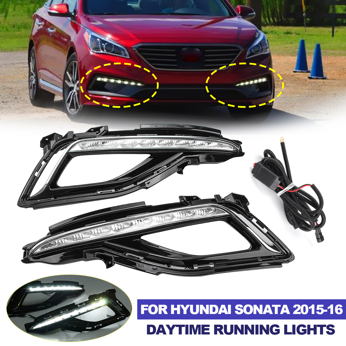 Front Molding Cover Trim for 2015-2017 Hyundai Sonata MK9 Lower Bumper Protector