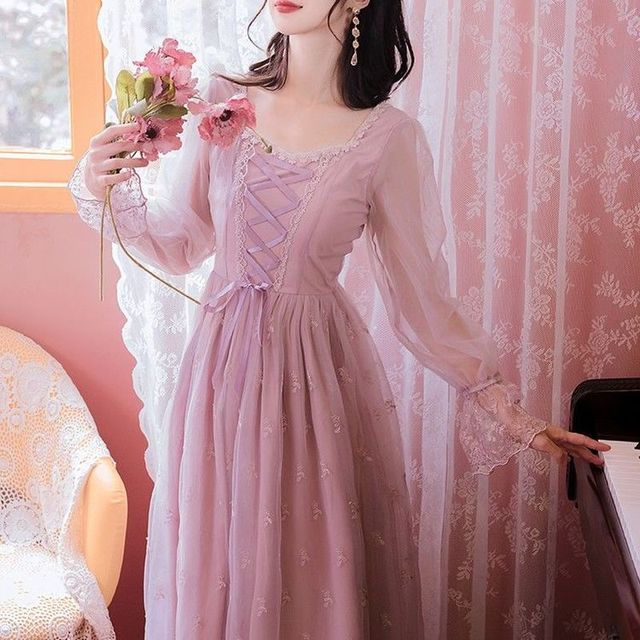 Pink_Elegant_Dress_Women_Autumn_Sweet_Floral_Midi_Dress_Female_Casual_Lace_Chiffon_Bandage_Fairy_Dre 5