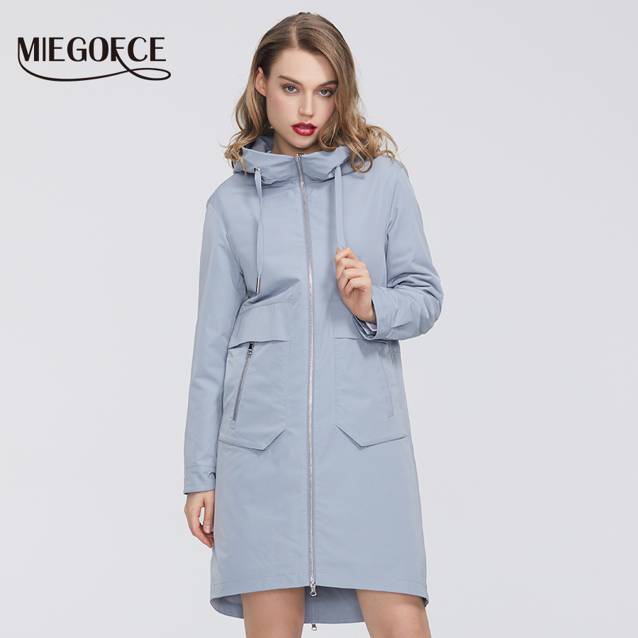 MIEGOFCE 2020 New Spring Windproof Designer Women Trench Warm Cotton Coat Spring Jacket With Resistant Collar With Hood Stylish