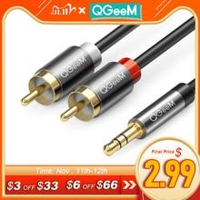 Кабель QGeeM RCA 2RCA на 3,5, аудиокабель RCA 3,5 мм Jack RCA AUX, кабель для DJ, усилителей, сабвуферов, аудиомикшеров, домашнего кинотеатра, DVD