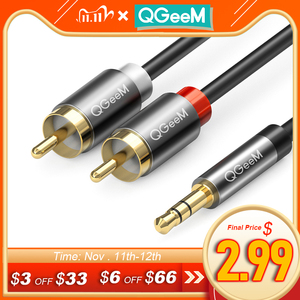 Image 1 - QGeeM RCA Cable 2RCA to 3.5 Audio Cable RCA 3.5mm Jack RCA AUX Cable for DJ Amplifiers Subwoofer Audio Mixer Home Theater DVD