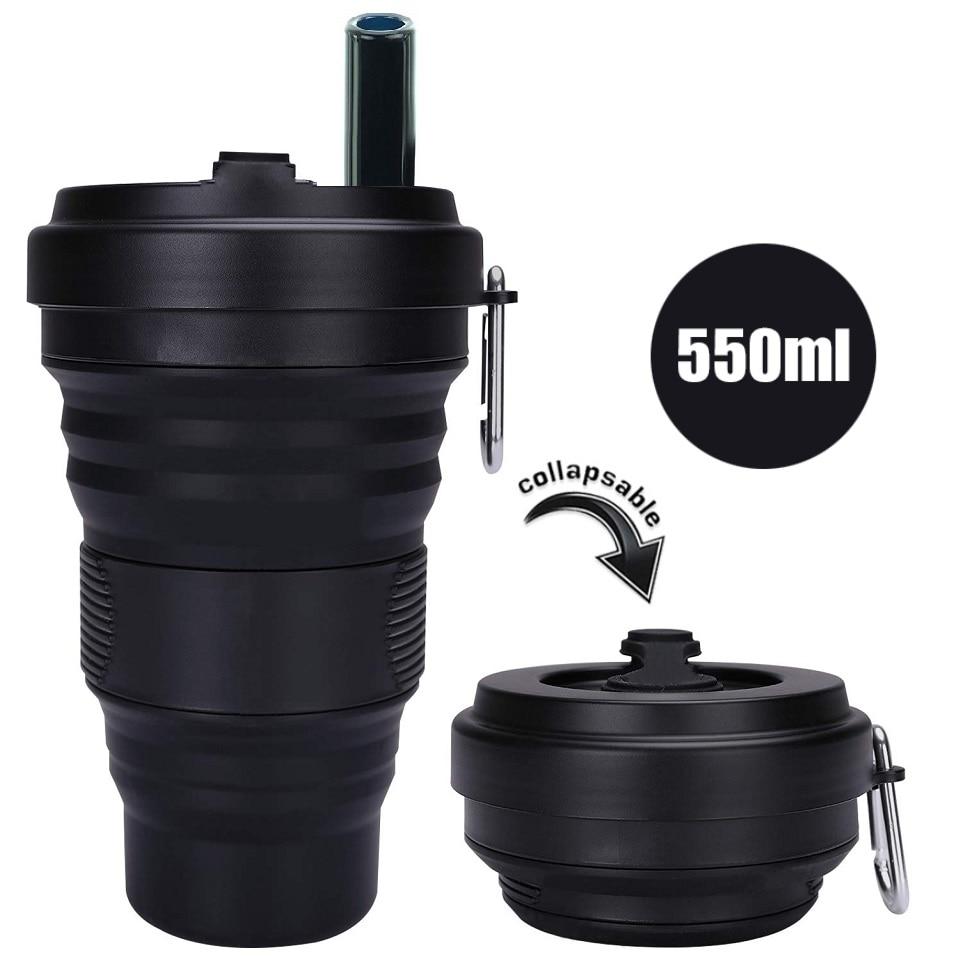 كوب قهوة من السيليكون مع غطاء من القش 550 مللي كوب قابل للطي ومانع للتسرب BPA زجاجة مياه محمولة قابلة لإعادة الاستخدام باللون الأسود للسفر