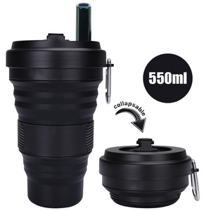 Collapsibl Silicone Coffee Cup with Straw Lid 550ml Folding Mug Leak Proof BPA Free Reusable Portable Water Bottle Travel black(China)