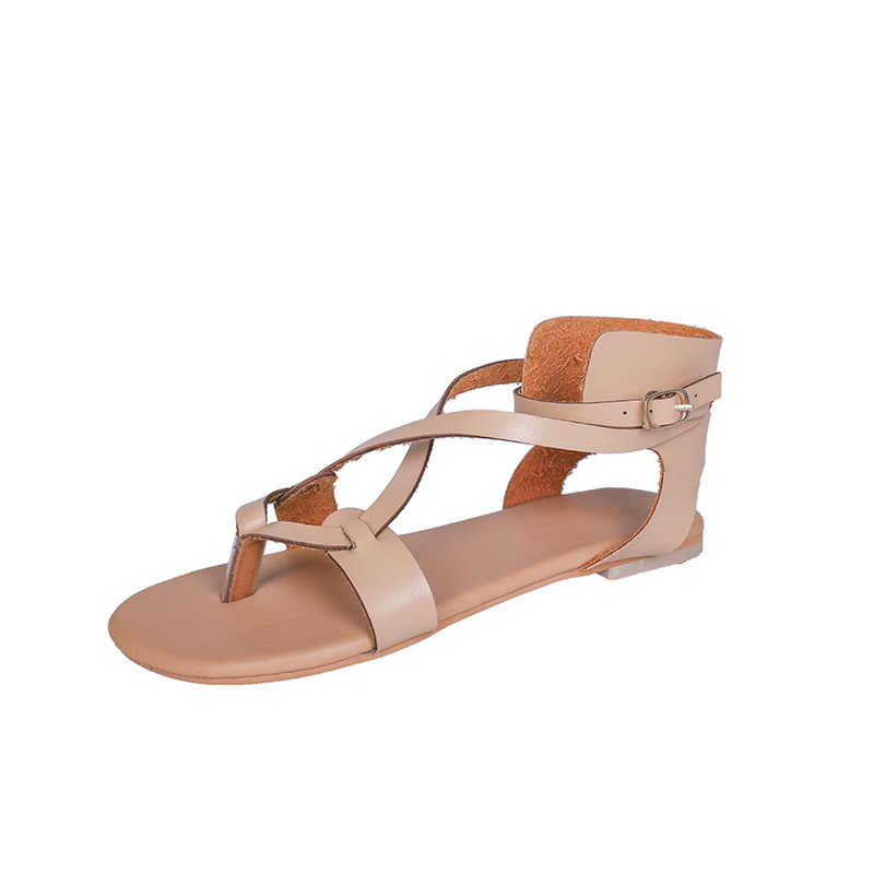 Zomer Nieuwe Gladiator Sandalen Vrouwen Schoenen Mode Platte Bodem Hasp Comfortabele Antislip Groot Size Strand Vrouwen slepen 35-43
