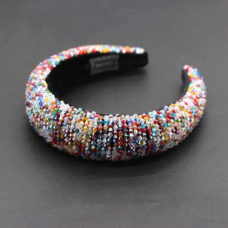 Neue mode übertrieben luxus kristall farbe schwamm haar hoop persönlichkeit damen prom straße foto haar zubehör 695