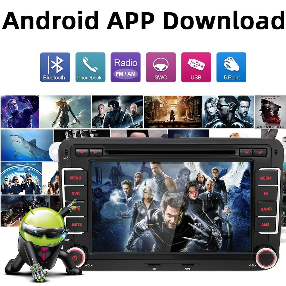 Car Multimedia player 2 Din Android 8 1 GPS For  VW/Golf/Tiguan/Skoda/Fabia/Rapid/Seat/Leon/Skoda dvd automotivo fm free  canbus