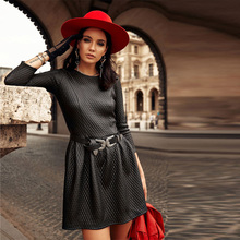 Winter Pu Leather a Line Sexy Party Dress Ladies Long Sleeve o Neck Black Mini