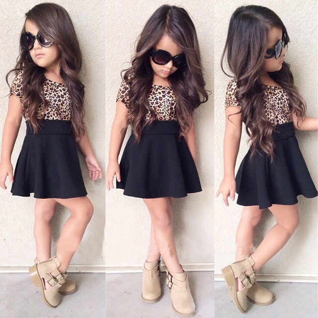 Leopard 2019 Summer New Fashion Baby Girls Kid Short Sleeve T-shirt Patchwork Dress Short Dresses Princess TUTU Dress